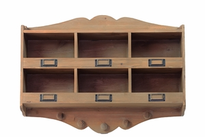 Six Sectioned Authentic Wooden Brown Shelf with Hooks by Urban Trends Collection