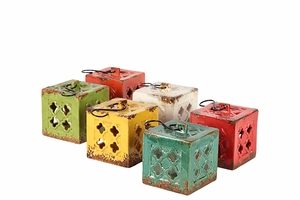 Six Sets of Assorted Ceramic Square Tea Light Lantern Small