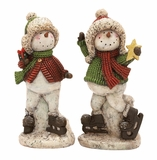 """Skating Polystone Snowman Set of 2 Assorted 20"""", 20""""H by Woodland Import"""