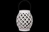 Skillfulll Crafted Open Crisscrossed Design Ceramic Lantern in White