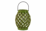 Skillfully Crafted Open Crisscrossed Design Ceramic Lantern in Green