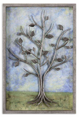 Sky Line Shadowbox Style Metal Frame Art in Grey Brand Uttermost