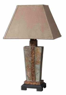 Slate Accent Lamp Hand Carved with Copper Detailing Brand Uttermost