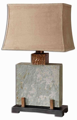 Slate Square Table Lamp with Intricate Detailing Brand Uttermost