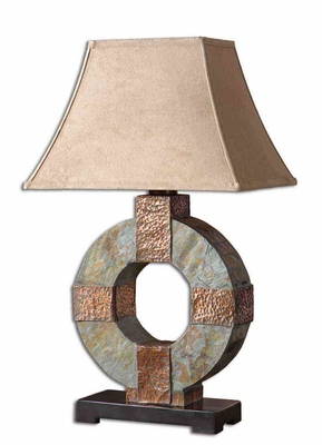 Slate Table Lamp with Hammered Copper Detailing Brand Uttermost