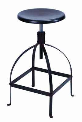 Sleek And Simple Black Bar Stool With Adjustable Seat Brand Woodland