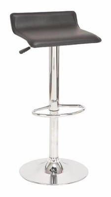 Sleek Black Bar Stools Set/2 with Gas Lift Full Swivel Leatherette Seat Brand Woodland