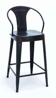 Sleek Black Color Bar Chair With Comfort Arm Rests Brand Woodland