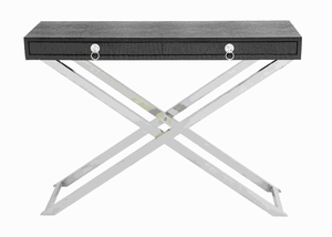 Sleek Metal Wood Console Table in Brown & Silver Finish Brand Woodland