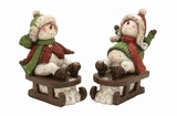 "Sleighing Polystone Snowman Set of 2 Assorted 11""W, 16""H by Woodland Import"