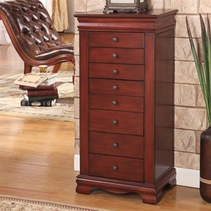 Slim Marquis 8 Drawer Locking Jewelry Armoire in Cherry Finish Brand Nathan
