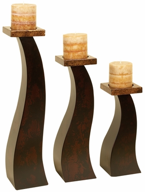 Slim Three Tall Wood Pillar Candle Holders with Textured Pattern Brand Woodland