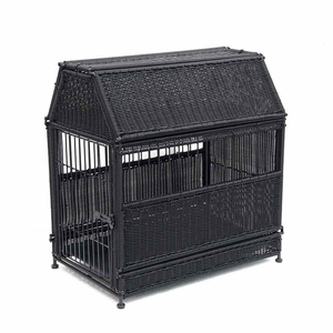 Small Black Wicker Dog House with Roof Top and Steel Frame Brand Zest