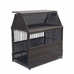 Small Espresso Wicker Dog House with Roof Top and Steel Frame Brand Zest