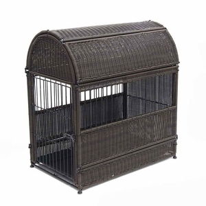 Small Espresso Wicker Dog House with Round Top and Steel Frame Brand Zest