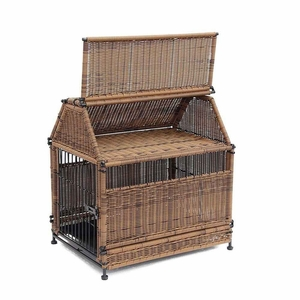 Small Honey Wicker Dog House with Roof Top and Steel Frame Brand Zest