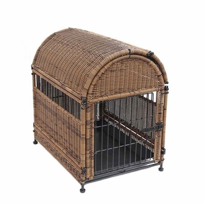 Small Honey Wicker Dog House with Round Top and Steel Frame Brand Zest