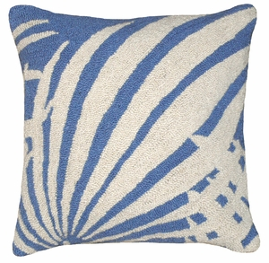 "Small Wonder Palm Leaf Blue Hooked Pillow 16x16"" by 123 Creations"