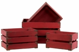 Smart and Trendy Set of Four Ravishing Red Wooden Storage Boxes