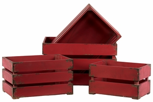 Smart and Trendy Set of Four Ravishing Red Wooden Storage Boxes by Urban Trends Collection