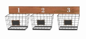 Smart Chic Metal Wood Wall Basket Brand Benzara