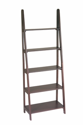 Smart Five Tiers Espresso Wooden Ladder Bookcase by Office Star