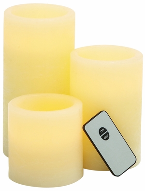 Smart Looking Tibetan Led Wax Candle Remote Set/3 by Woodland Import