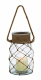 Smart Styled Opaque Glass Rope Candle Lantern by Woodland Import