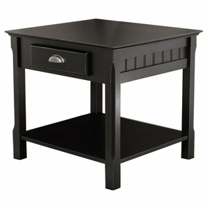 Smart Uniquely Styled Timber End Table With Drawer and Shelf by Winsome Woods