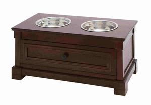 Smart Wooden Pet Feeder with Drawer and Steel Bowls Brand Benzara