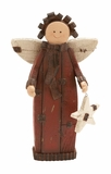 "Smiling Polystone Angel w/ Wooden Star 13""H, 7""W by Woodland Import"