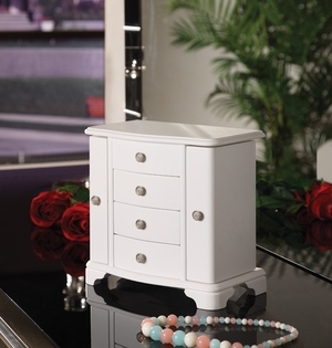 Snow Jewelry Box with Four Drawers and Two Well Spaced Cabinets Brand Nathan