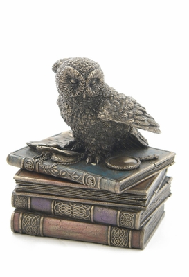 Snow Owl with Flapping Wings On Books Trinket Box in Cast Bronze Brand Unicorn Studio