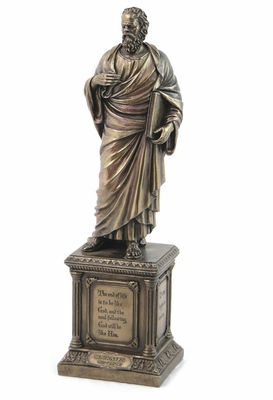 Socrates Statue on Pedestal with Cold Cast Bronze Construction Brand Unicorn Studio