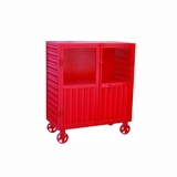 Soft Antique Red Metal Accent Cabinet by Yosemite Home Decor