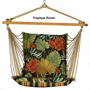 Soft Comfort Cushion Hanging Chair in Tropique Raven or Lyndhurst Raven by Alogma