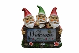 Solar Gnomes with Welcome Sign Garden Statue by Alpine Corp