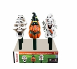 Solar Halloween Ceramic Flashing Garden Stakes -Display of 6 by Alpine Corp