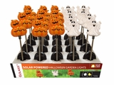 Solar Pumpkin and Ghost Garden Stakes w/ White LED Light - Tray Pack of 20 by Alpine Corp