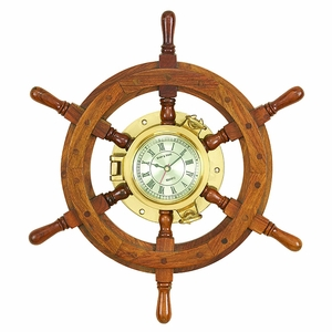 Solid Nautical Teak Wood Ship wheel Porthole Brass Clock Brand Woodland