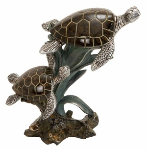 Solid Poly Stone Sea Turtle Pair Cold Cast Statue Sculpture Brand Woodland