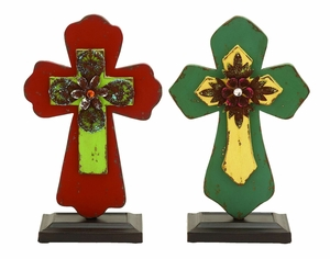 Solid Wood Inspirational Cross Decor With Blooming Flowers Brand Woodland
