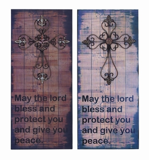 Solid Wood Inspirational Lords Blessing Wall Plaque And Cross Brand Woodland