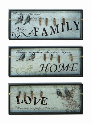 Solid Wood Inspirational Wall Plaque With Photo Clips Brand Woodland
