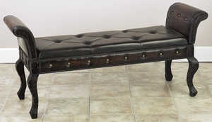 Solid Wood Leather Ottoman Bench, Handcrafted Leather Ottoman Brand Woodland