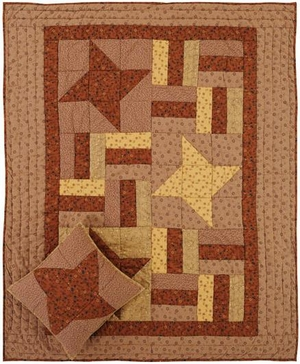 "Somerville Hand Made Quilted Throw with ""Friendship Star"" Blocks Brand VHC"