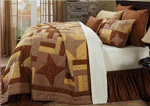 "Somerville Super King Quilt with ""Friendship Star"" Blocks Brand VHC"