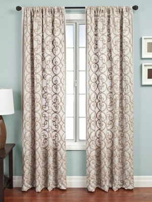 Soothing Sand Curtain - Earthy Sand Laver Print For Natural Elegance Brand Softline
