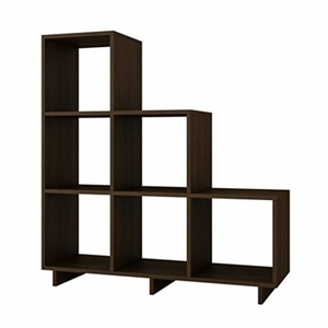 Sophisticated Cascavel Stair Cubby with 6 Cube Shelves in Tobacco