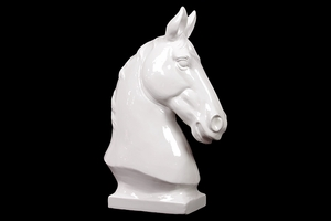 Sophisticated Hilton's Ceramic Horse Bust White by Urban Trends Collection